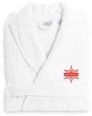Linum Home Textiles Embroidered Luxury and Terry Bathrobe - Merry Christmas Bedding