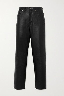 Gold Sign The Relaxed Straight Cropped Leather Pants - Black