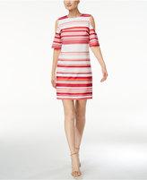 Calvin Klein Petite Striped Cold-Shoulder Dress