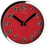 "Oliver Hemming Wall Clock with Big Bold Readable Numbers - Red (12"")"