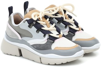 Chloé Sonnie leather and suede sneakers