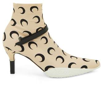 Marine Serre Crescent Moon-print Stretch-jersey Ankle Boots - Womens - Black Beige