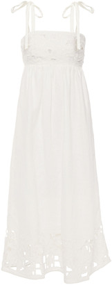 Zimmermann Broderie Anglaise-trimmed Gathered Linen Midi Dress