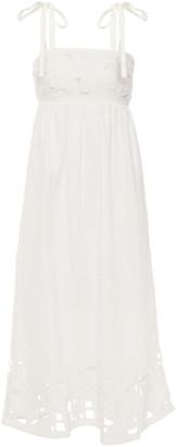 Zimmermann Shirred Broderie Anglaise Linen Midi Dress