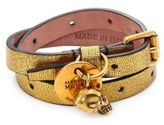 Alexander McQueen Metallic Leather Double Wrap Bracelet