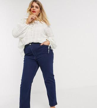 ASOS DESIGN Curve high rise sculpting 'sassy' cigarette jeans in mid blue