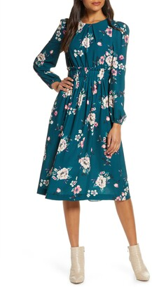 Eliza J Floral Print Long Sleeve Midi Dress