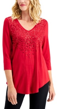 JM Collection Sequined Top, Created for Macy's