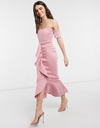 True Violet exclusive bardot corset detail ruffle fishtail midi dress in winter blush
