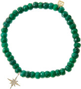 Sydney Evan Jewelry Emerald Rondelle Beaded Bracelet with 14k Gold/Diamond Small Starburst Charm (Made to Order)