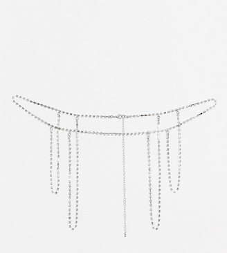 Glamorous Exclusive waist and hip body chain harness in silver
