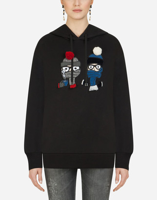 Dolce & Gabbana Hoodie With Patches Of The Designers