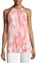 MICHAEL Michael Kors Chain-Neck Printed Halter Top, Lily Pink