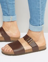 Asos Slider Sandals In Brown With Cork Sole