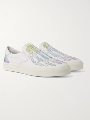 Amiri Skel Toe Tie-Dyed Leather-Appliqued Canvas Slip-On Sneakers