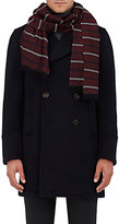 Barneys New York Men's Striped Basket-Weave Cashmere Scarf-RED