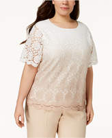 Alfred Dunner Plus Size La Dolce Vita Lace-Overlay Sweater