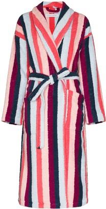 Desmond & Dempsey Medina vertical-stripe towel robe