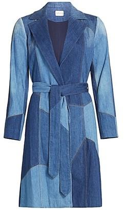 Alice + Olivia Jeans Sydney Patchwork Belted Trench Coat