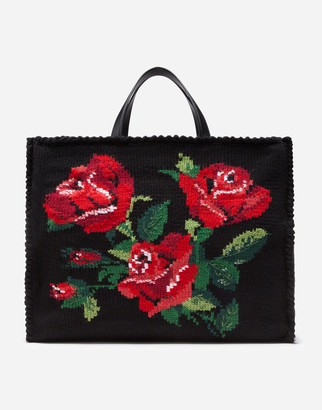 Dolce & Gabbana Large Beatrice Bag With Embroidered Roses