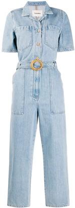 Nanushka Short-Sleeved Denim Jumpsuit