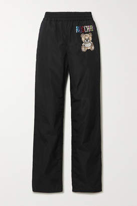 Moschino Crystal-embellished Shell Track Pants - Black