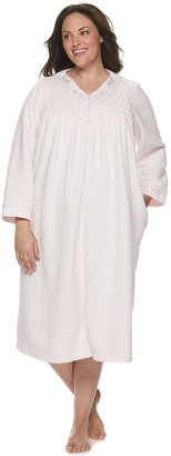 Miss Elaine Plus Size Essentials Brushed Back Terry Long Robe