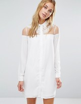 Fashion Union Dress With Sheer Top Panel And Collar