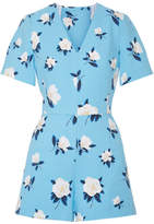 Draper James Cutout Floral-print Cotton-piqué Playsuit - Blue
