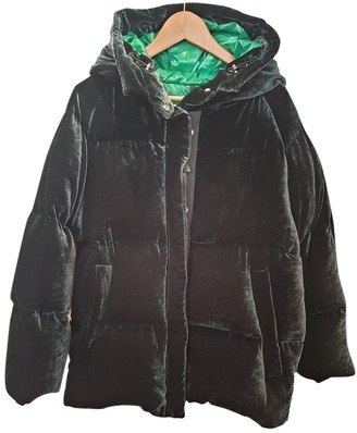 Moncler Hood Green Velvet Coat for Women