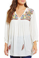 Intro Petites 3/4 Sleeve Mirrored Embroidered Peasant Top
