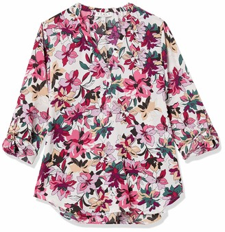 Chaus Women's Long Sleeve Roll Tab Petals V-Neck Blouse
