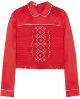 Miu Miu Smocked Embroidered Poplin Top