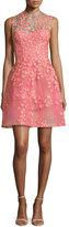 Monique Lhuillier Sleeveless Floral-Appliqué Cocktail Dress, Apricot
