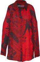 Raquel Allegra Cutout printed silk-chiffon blouse