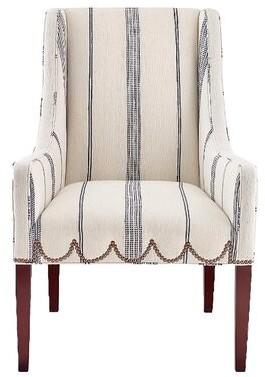 "Imagine Home Chelsea 27"" W Cotton Armchair Fabric: Gray/Natural Stripe 100% Cotton"