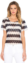 BCBGeneration Striped Lace Top
