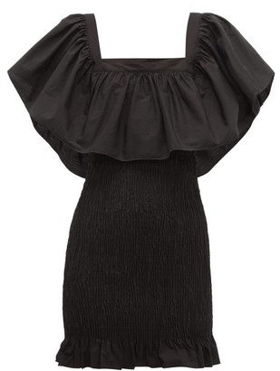 Solid & Striped Smocked Cotton-poplin Mini Dress - Black