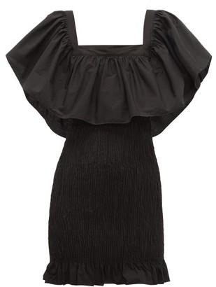 Solid & Striped Smocked Cotton-poplin Mini Dress - Womens - Black