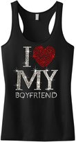 Interstate Apparel Inc Rhinestone I Love My Boyfriend Racer Back Tank Top Juniors S-XL (S (Juniors), )