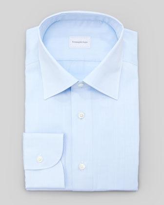 Ermenegildo Zegna Tonal Herringbone Dress Shirt