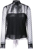Milly polka dot sheer layered blouse