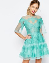 Asos SALON Lace Paneled Organza Mini Dress