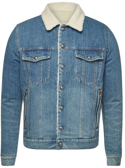 Balmain Denim Jacket with Wool Shearling Collar