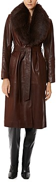 Nour Hammour Uptown Girl Shearling Collar Trench Coat