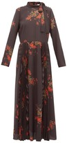 RED Valentino Floral-print Pussy-bow Crepe Dress - Womens - Black Multi
