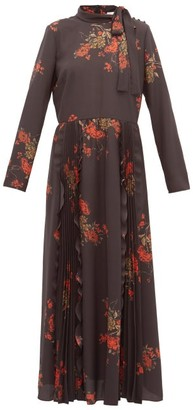 RED Valentino Floral-print Pussy-bow Crepe Dress - Black Multi