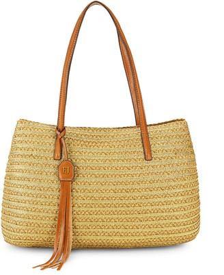 Eric Javits Leather Strap Woven Tote