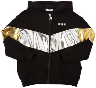 MSGM Zip-up Cotton Sweatshirt Hoodie