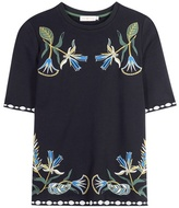 Tory Burch Ainsley Embroidered Cotton Jersey Top